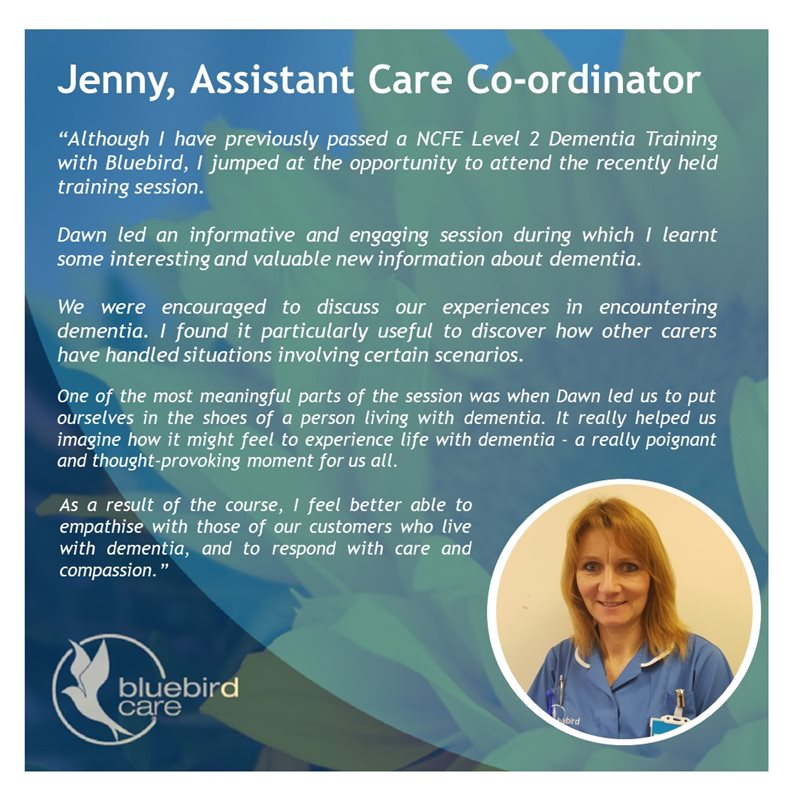 Bluebird Care Assistant Coordinator Jenny on the training