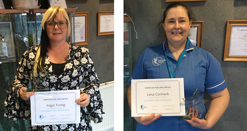 Angie and Leisa celebrating 6 years with Bluebird Care Edinburgh