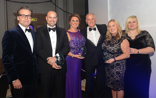Scotland & Northern Ireland Finalists with Bluebird Care COO, Duncan Berry and Director of Operations, Fiona Williams
