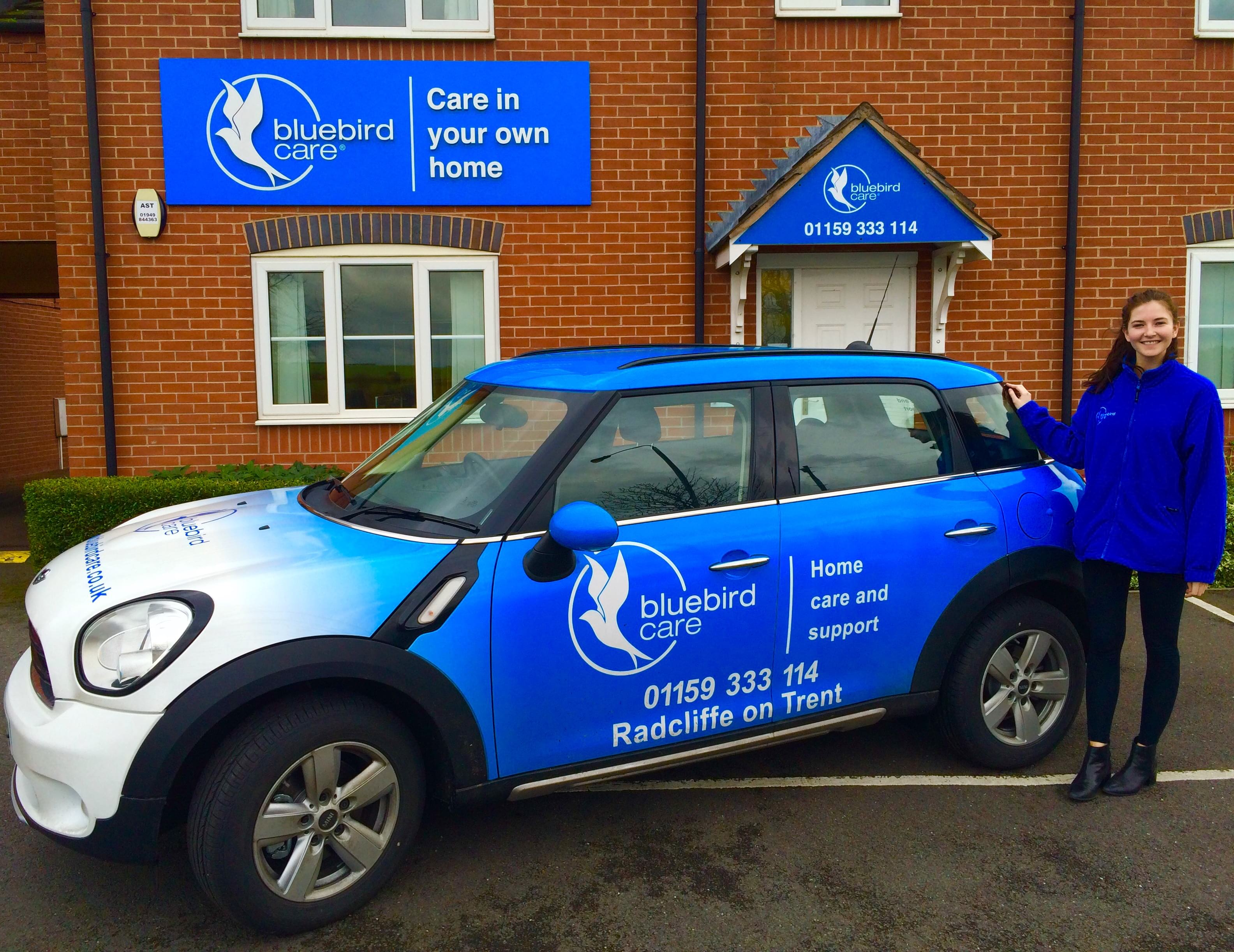 Bluebird Care Mini Countryman Car parked outside office entrance
