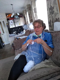 Bluebird Care Rother & Hastings care assistant learning to knit