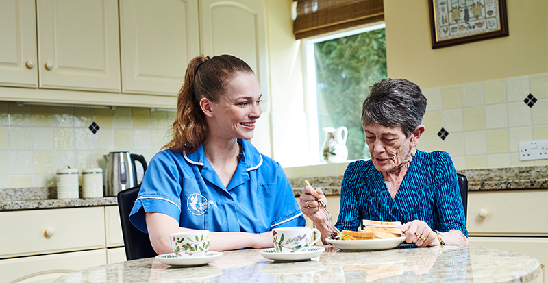 Customer receiving domiciliary care, also known as home care in their home